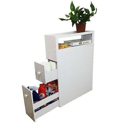 White Removable Wood Floor Standing Bathroom Corner Cabinet Storage Cupboard NEW
