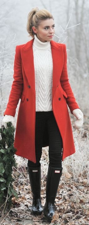Winter Fashion 2015. Gorgeous brick orange peacoat over a winter white cable knit. Love!! ::M::