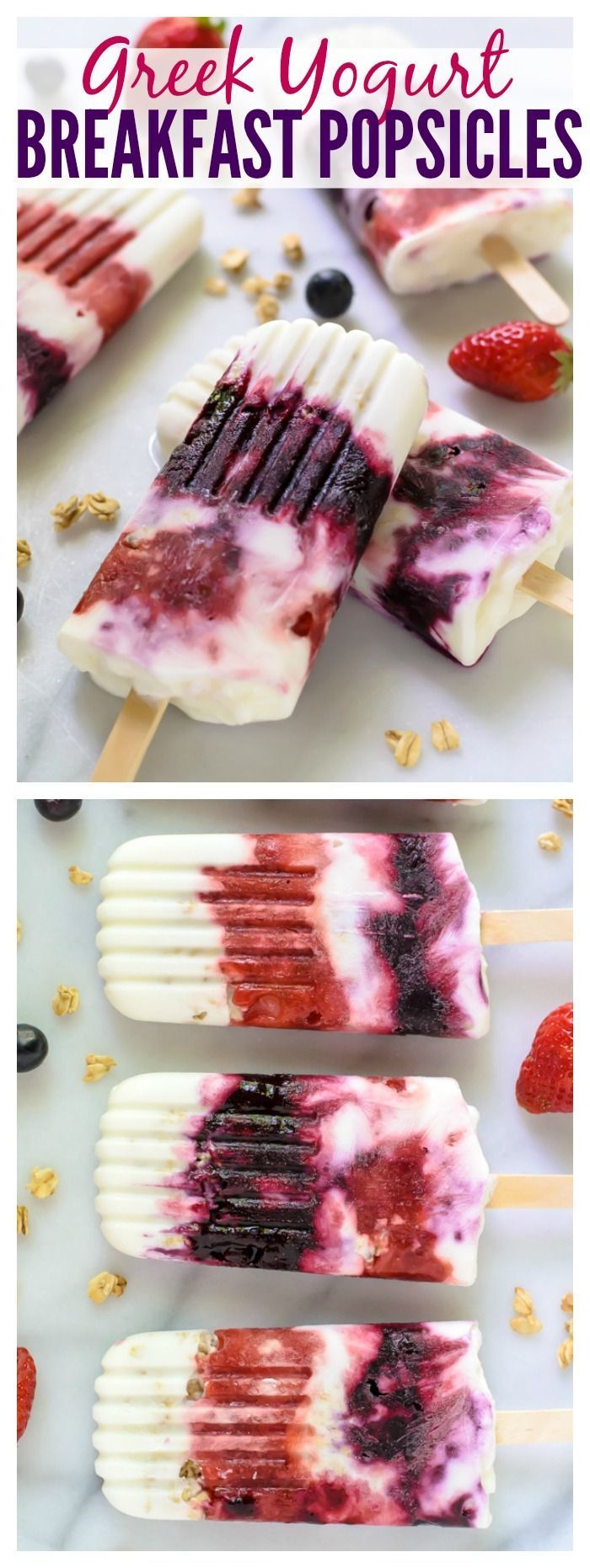 Greek Yogurt Breakfast Popsicles. A healthy breakfast or snack you can take to go! We even love these for dessert. #popsicles