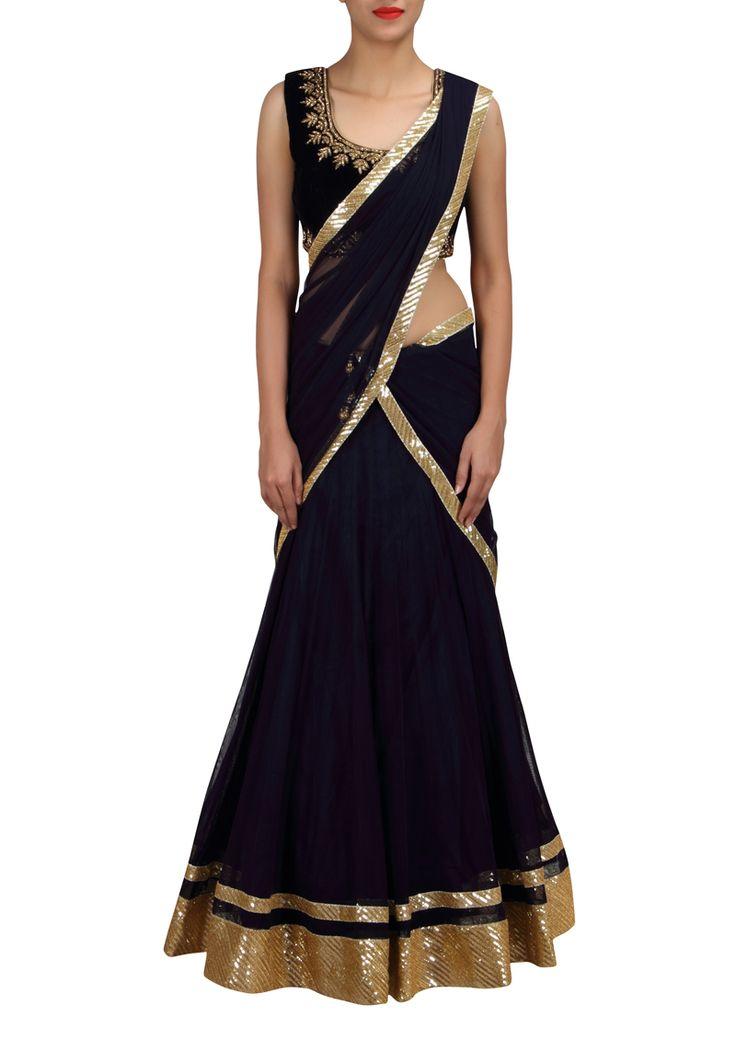 Chaniya Choli : Navy Blue Net and Velvet chaniya choli design