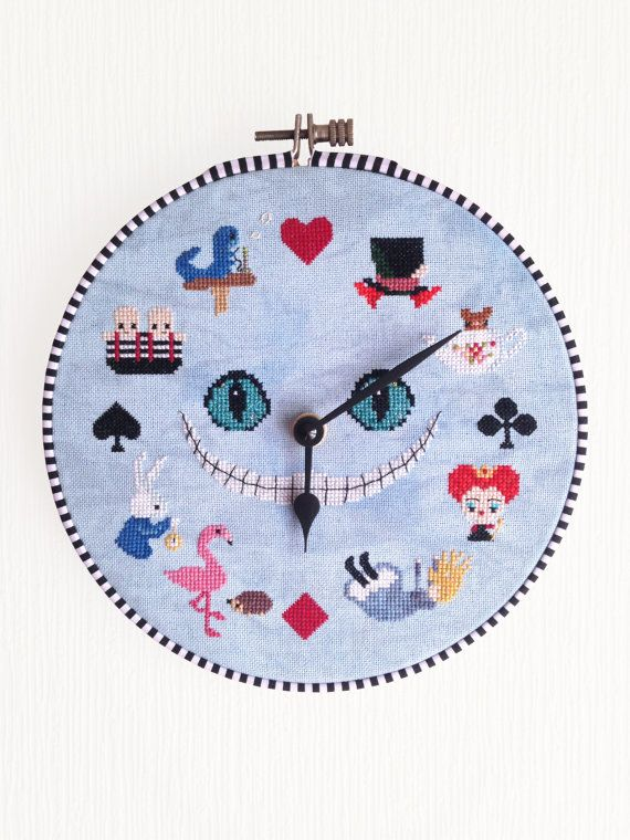 Alice in Wonderland Clock Cross Stitch by OtterlyInXStitches  @ricciblackett how cool is this!!! i want to make one!