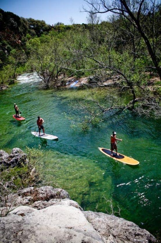 Paddleboarding on Lady Bird Lake in Austin, Texas