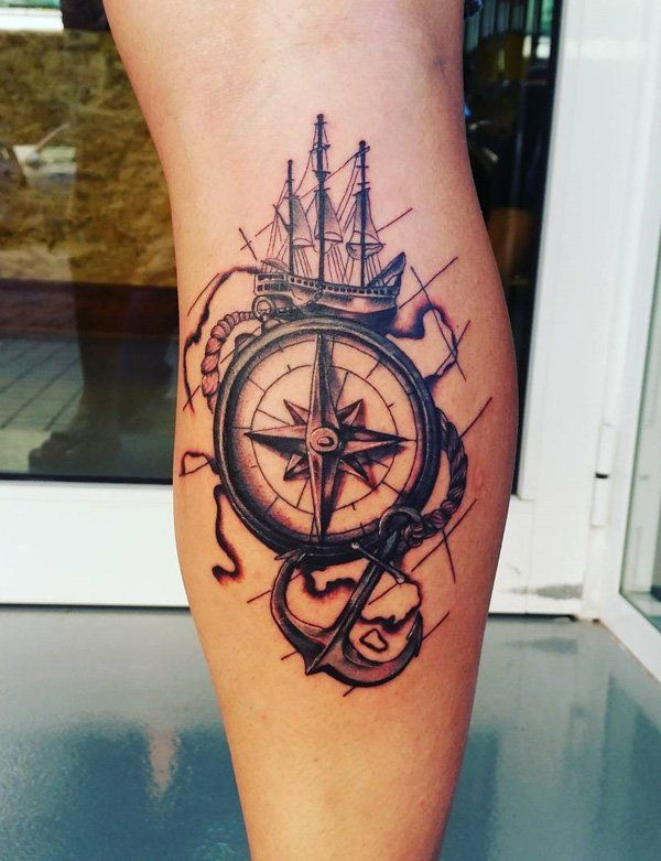Compass with ship tattoo - 100 Awesome Compass Tattoo Designs
