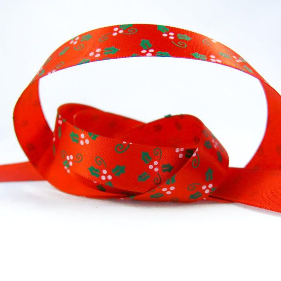 Mistletoe Satin Ribbon. Winter Ribbon. by TheCabochonMarket