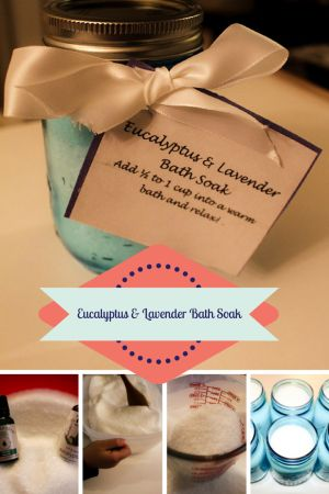 Perfect holiday #DIY for neighbours, colleauges and teachers or just for you when you are feeling under the weather #DIYHolidayGiftGuide http://www.homewithaneta.com/diy-eucalyptus-lavender-bath-soak/