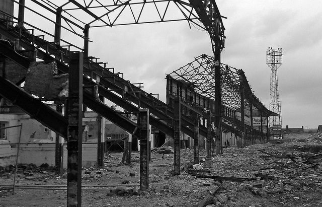 Saltergate | Chesterfield FC's old ground during demolition