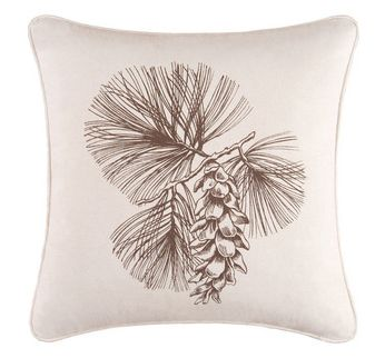An autumn-themed pillow with pine cone. Rustic and elegant decor for back porch. | Cozy Back ...