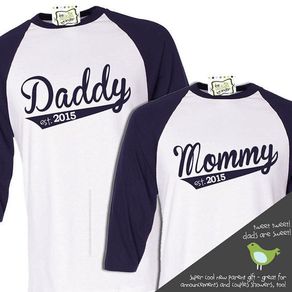 Hey, I found this really awesome Etsy listing at https://www.etsy.com/listing/115677015/daddy-mommy-shirt-set-personalized-year