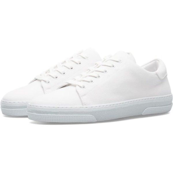 A.P.C. Jean Tennis Sneaker ($290) ❤ liked on Polyvore featuring shoes, sneakers, cotton shoes, round toe sneakers, lace up sneakers, lacing sneakers and tennis trainer