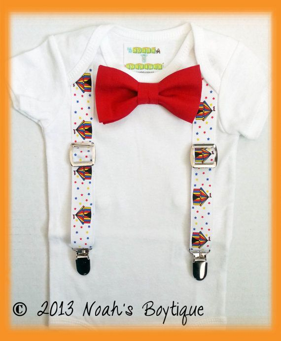 Circus Birthday Outfit Boy - Baby Boy Carnival Shirt - First Birthday Circus Shirt - Bow Tie Romper - Circus Party - Ringmaster Outfit by Noah's Boytique, $19.00