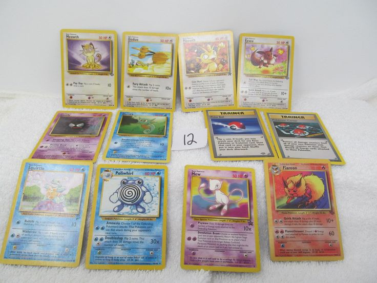 Pokemon Cards - Lot of 12 Vintage Cards included - Flareon, Mew, Horsea, Squirtle, Poliwhirl, Meowth, Eevee by CellarDeals on Etsy