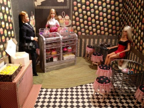 Barbie Diorama OOAK 1 6 Scale Barbie Bakery Cafe Tables Chairs Display Case Cake | eBay