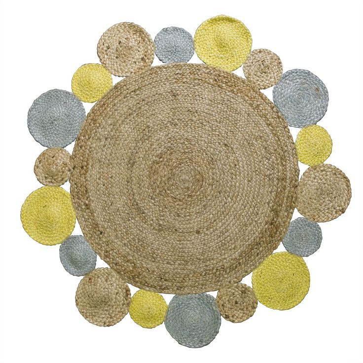 Jacob Round Jute Rug | Yellow Mix | 120cm by Round Jute Flatweaves on THEHOME.COM.AU