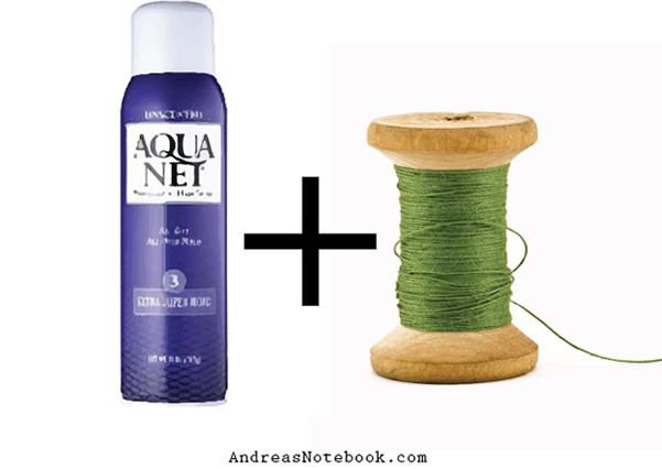 Passe spray de cabelo na linha para inseri-la na agulha