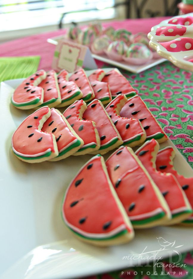 Watermelon party: Claire is 1!  Found this on a website where a little girl's parents done a massive WATERMELON theme party!! SOOOO cute and everything is completely watermelon and there are some fantastic and completely unique ideas on there for kids birthdays of all ages :)
