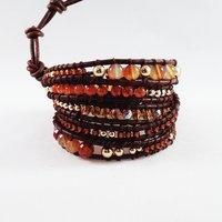 Shop online luxury Mediterranean wrap boho bracelets-brazaletes y pulseras enrollables cuero y piedras, Pintor de Gala, pintordegala.