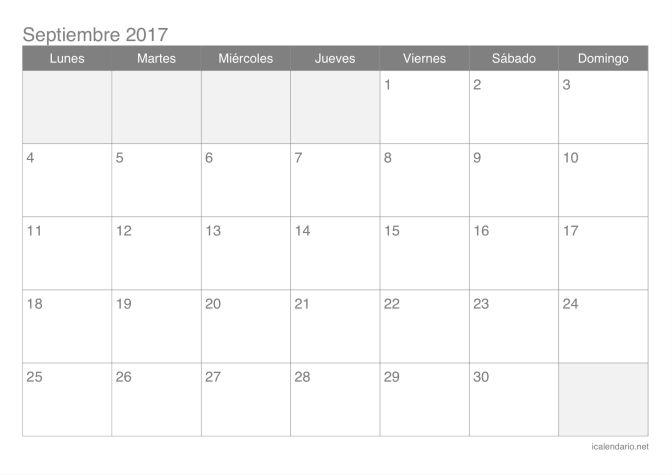 Calendario de septiembre 2017