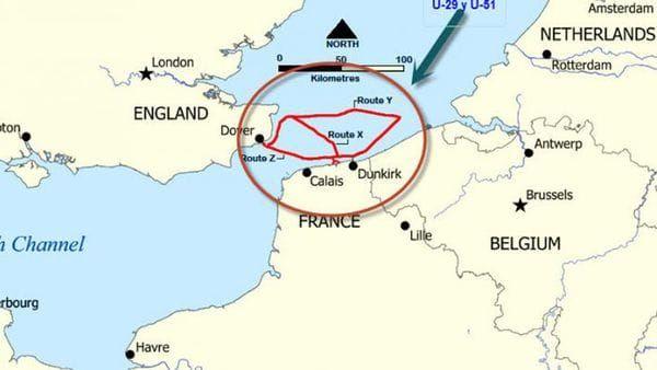 El escenario de la Operación Dynamo. De Dunkerque (en este mapa, en inglés, Dunkirk) a Dover