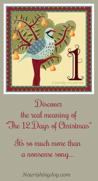 """Discover the """"real"""" meaning of the song, """"The 12 Days of Christmas,"""" including its lore and legend! It has a fascinating history.... NourishingJoy.com"""