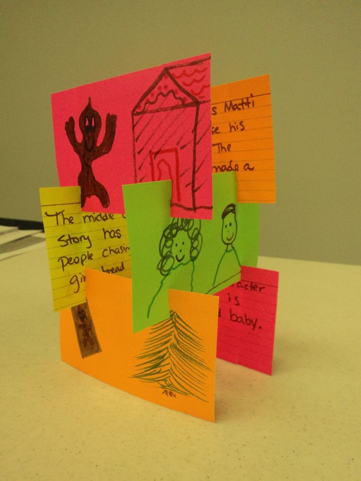 This is a story tower where children illustrate the title on one card, the setting, author's purpose, beginning, middle, end! They write sentences or a paragraph on the back. Then they build it. This can be a group activity, where each child does one card to build a group story tower or each child can make their own.(Pic only/See explanation above)