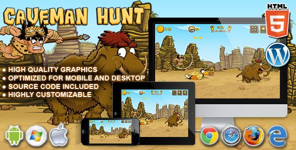 Caveman Hunt - HTML5 Launch Game - Price $29