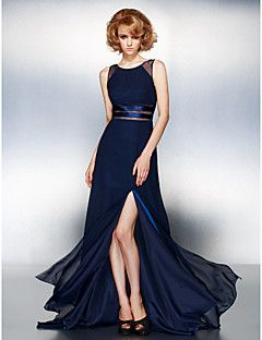 A-line Jewel Sweep/Brush Train Chiffon Evening Dress (179900... – USD $ 89.99