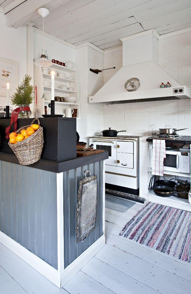 Hirsitalon keittiössä yhdistyvät perinteinen tunnelma ja modernit ideat. Puuhella, lankkulattia ja puolipaneelit kohtaavat saarekkeen, avohyllyt ja kaasulieden.
