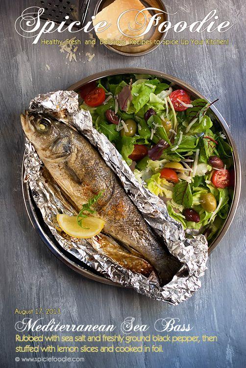 Lemon Stuffed Mediterranean Sea Bass Cooked In Foil