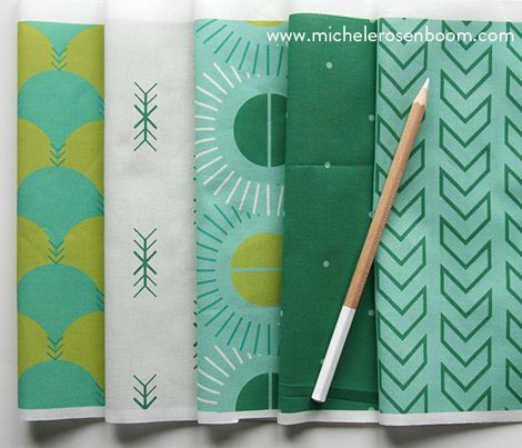 Native Modern Collection by Michele Rosenboom.  Pictured in Emerald.  Available on Spoonflower