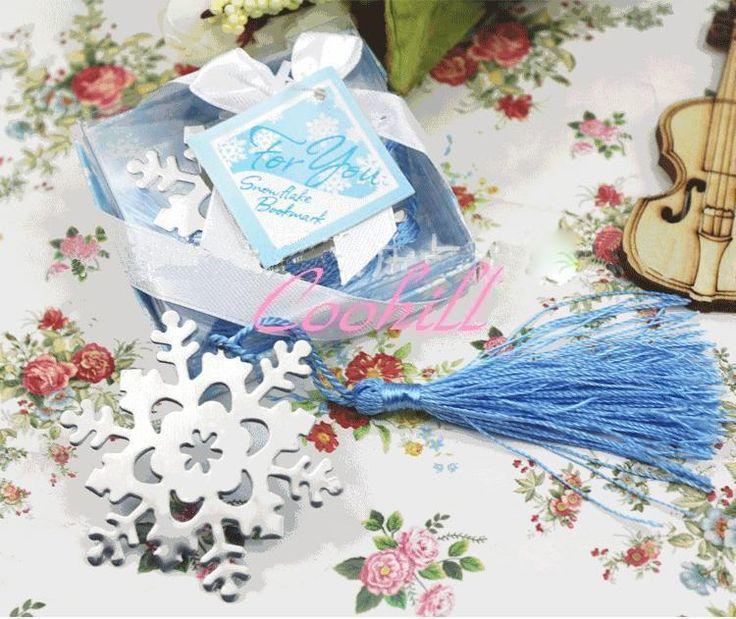 conjuntos metálicos satin borlas neve bookmark marcadores floco de neve 2 superfície de cor diferentes do casamento