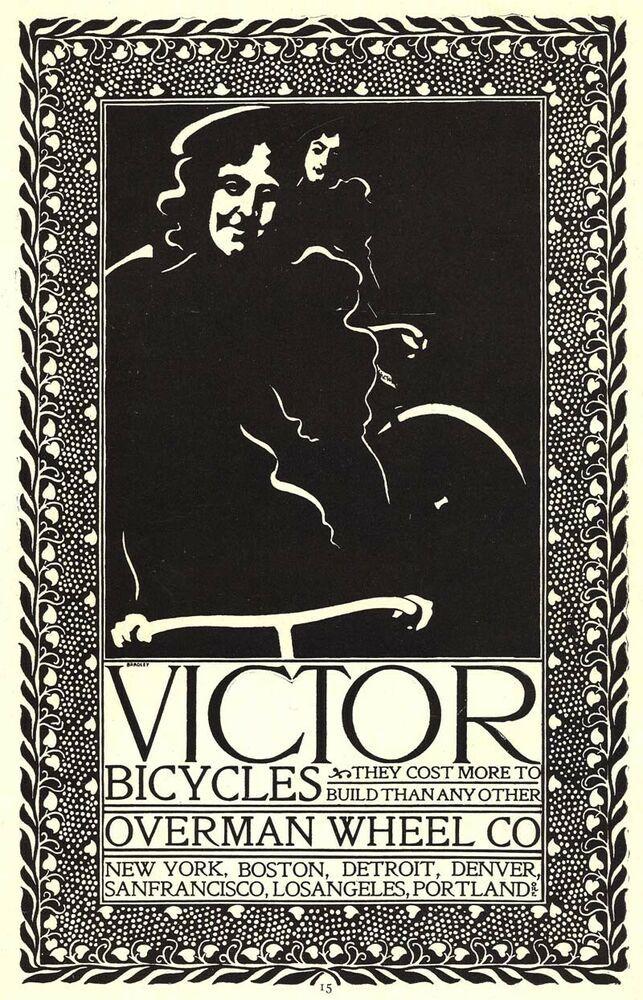 Rare 1896 Victor Bicycle Ad Will Bradley Art Nouveau Overman Wheel Co Overmanwheelco Art Nouveau Victor Wheel