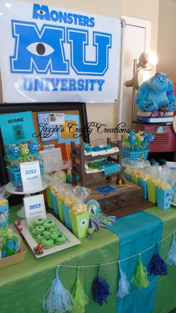 Dessert table at a Monsters University birthday party! See more party ideas at CatchMyParty.com!