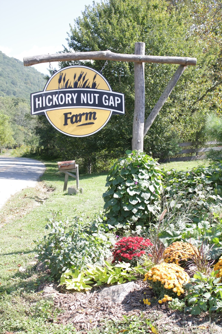 Hickory Nut Gap Farm entrance dressed up for fall.