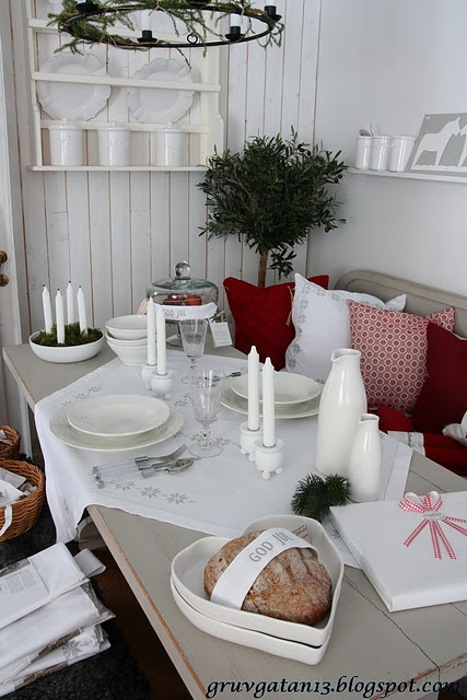 Swedish cottage dining at Christmastime