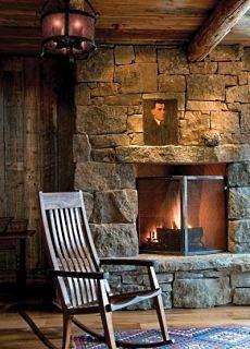 log cabin fireplaceStones Fireplaces, House Design, Rocks Chairs, Luxury House, Design Interiors, Interiors Design, Cabin Life, Fireplaces Wall, Modern Interiors