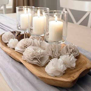 tissue paper flowers. Love the neutral tones with texture an candles. Future dining room table centerpiece!