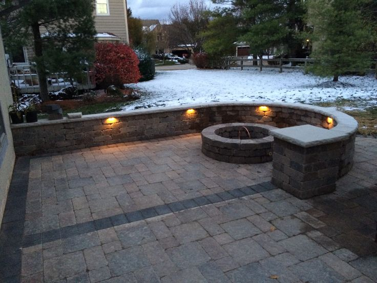 Unilock Patio With LED Lighting And Gas Fire Pit In Columbus, Ohio Www.