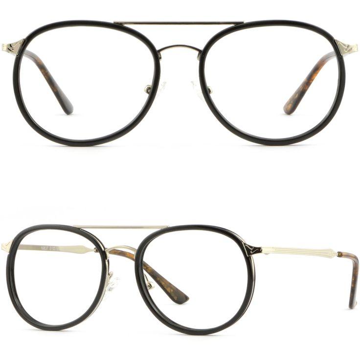 Small Retro Full Rim Metal Frames Prescription Glasses RX Sunglasses Shiny Black #Unbranded