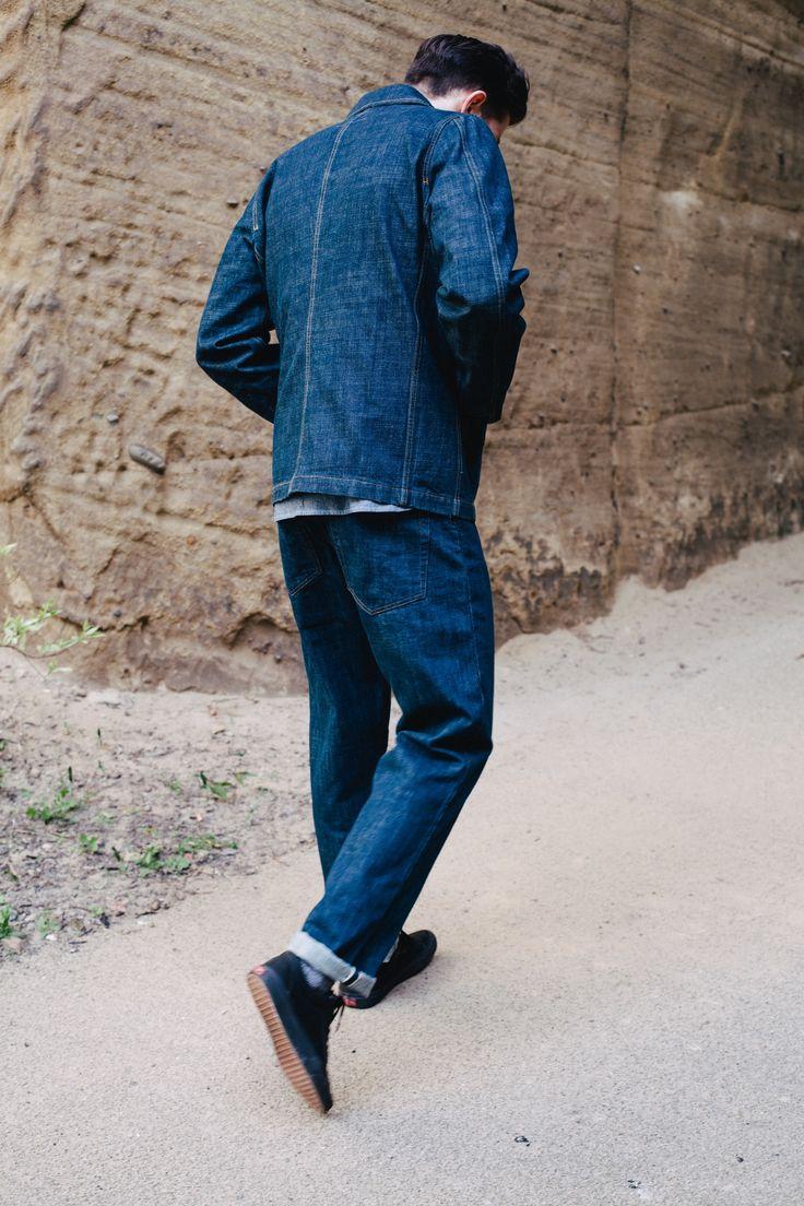 Universal Works Workshop Denim Indigo Bakers Chore Jacket and Regular Fit Jean in Slub Selvedge Denim