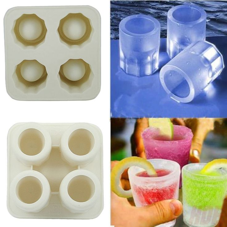 Mold also works for Pudding, Jelly, Jello, Chocolate and any liquid. -Makes 4 crack-free ice shot glasses. -Ice glass chills your drink without watering it down. | eBay!