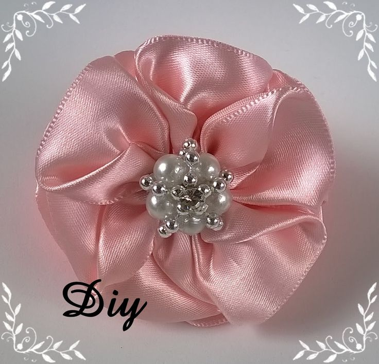 DIY - Flor de fita de cetim  Flower satin ribbon - DIY