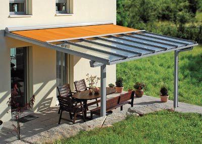 Glasdach Terasse glasdach mit integrierter markise versus regen und sonne