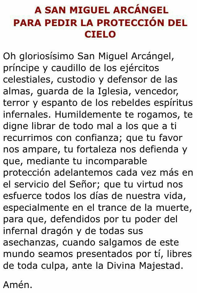 Oración a San Miguel Arcángel para pedir protección del cielo.