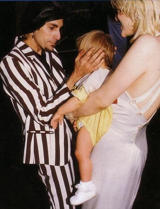 Courtney Love of Hole, Perry Farrell of Jane's Addiction and Francis Bean as a baby @ the 1993 MTV Music Awards.