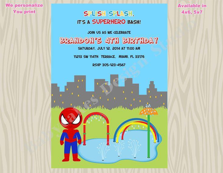 Spiderman invitation splash pad birthday invitation splish splash birthday invitation splash party invitation invite printable digital DIY by jcbabycakes on Etsy