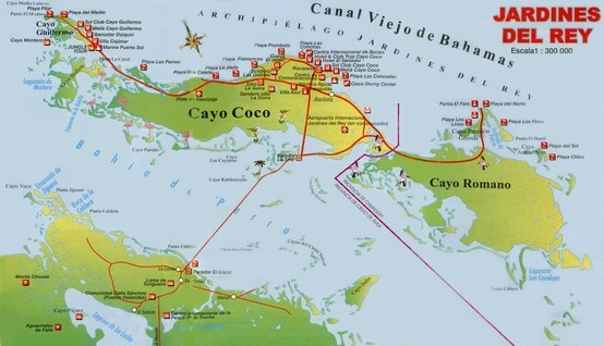 Map of Cayo Coco, Cuba. Cayo Coco is an island in central Cuba, known for its all-inclusive resorts. It lies within the Ciego de Ávila Province and is part of a chain of islands called Jardines del Rey.