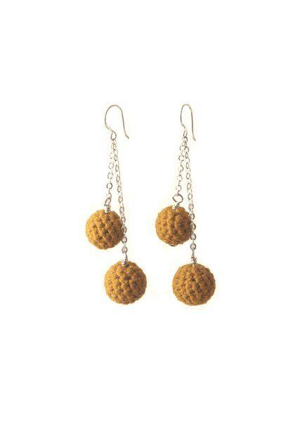 Crochet Happy Earrings - Mustard   Indigo Heart - Fair Trade Fashion A$18
