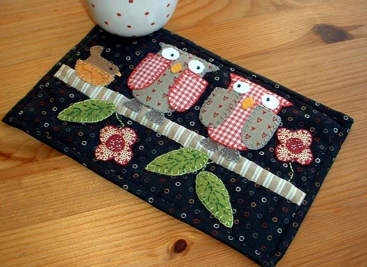 Night-time Owl Mug Rug by The Patchsmith | Quilting Ideas - Find out more about The Patchsmith'sQuilting project Night-time Owl Mug Rug on Craftsy! - via @Craftsy