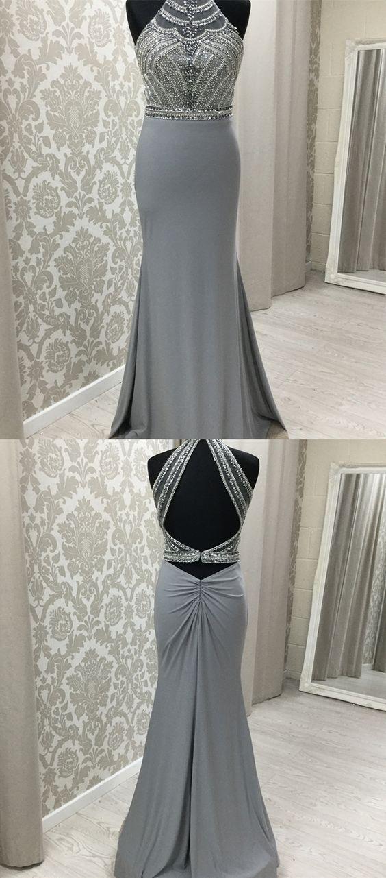 elegant two piece grey long prom dresses, unique beading bodice party dresses, m...