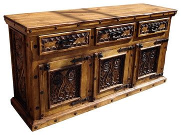 Mexican Hand Carved Wood Buffet mediterranean-buffets-and-sideboards